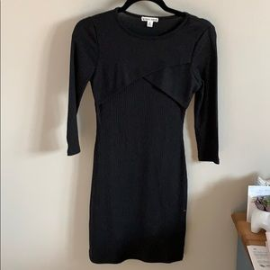 Black Mini Dress with 3/4 Sleeves